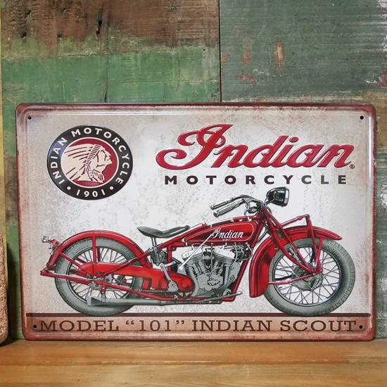 インディアン バイク アンティーク メタルプレート Indian インテリア ブリキ看板の画像