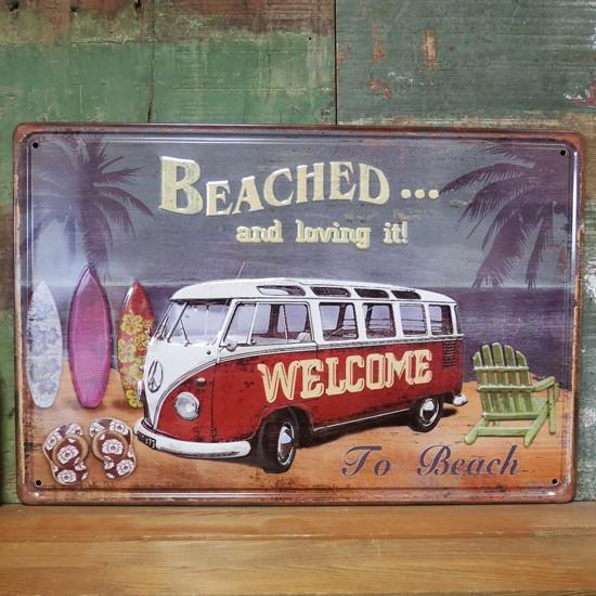 ワーゲンバス アンティーク メタルプレート beached インテリア ブリキ看板の画像