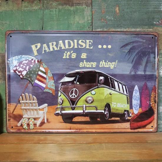 ワーゲンバス アンティーク メタルプレート paradise インテリア ブリキ看板の画像