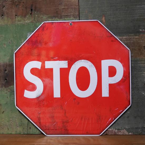 STOP ブリキ看板 トラフィックサインプレート 道路標識 止まれ画像