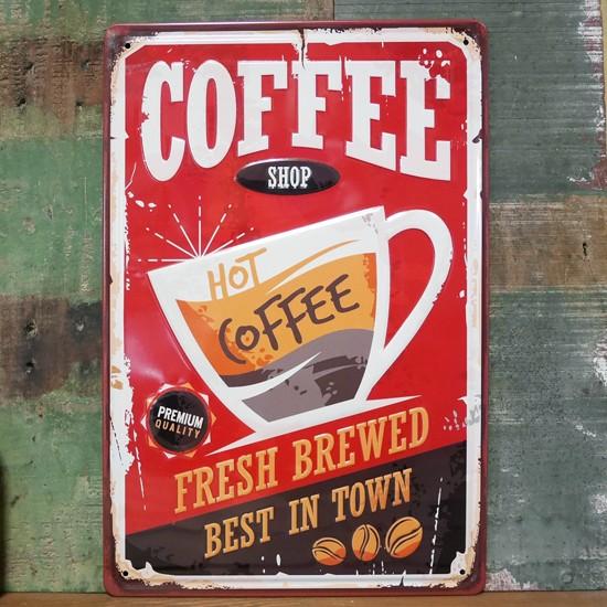 コーヒー アンティーク メタルプレート COFFEE インテリア ブリキ看板の画像