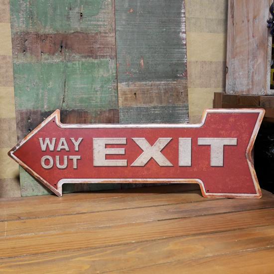 EXIT ブリキ看板 インテリア 出口 トラフィックサイン看板 アメリカン雑貨画像