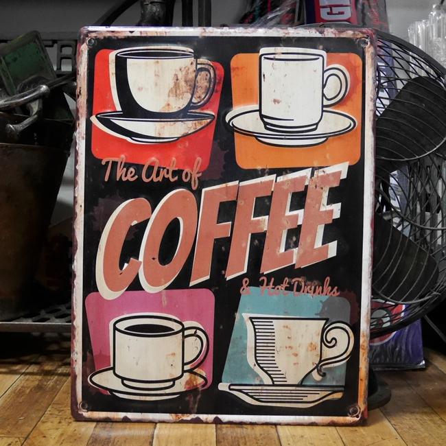 ブリキ看板 アンティーク エンボス プレート The art of Coffee コーヒー アメリカン雑貨の画像