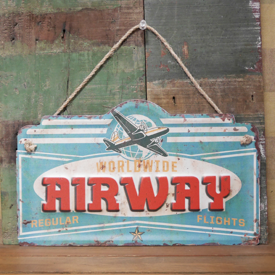 AIRWAY ブリキ看板 インテリア ダイカット レトロデイズプレート ガレージ看板の画像
