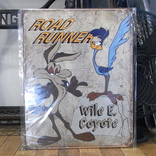 ロードランナー ワイリーコヨーテ ブリキ看板 ルーニーテューンズ インテリア アメリカン雑貨の画像