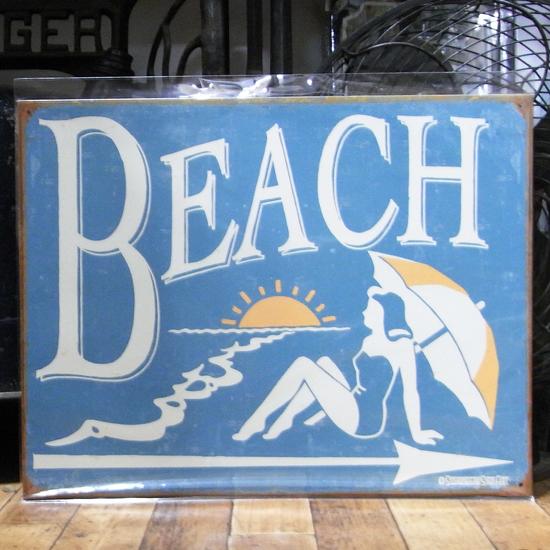 ハワイアン ティンサインプレート ブリキ看板 BEACH アメリカン雑貨の画像