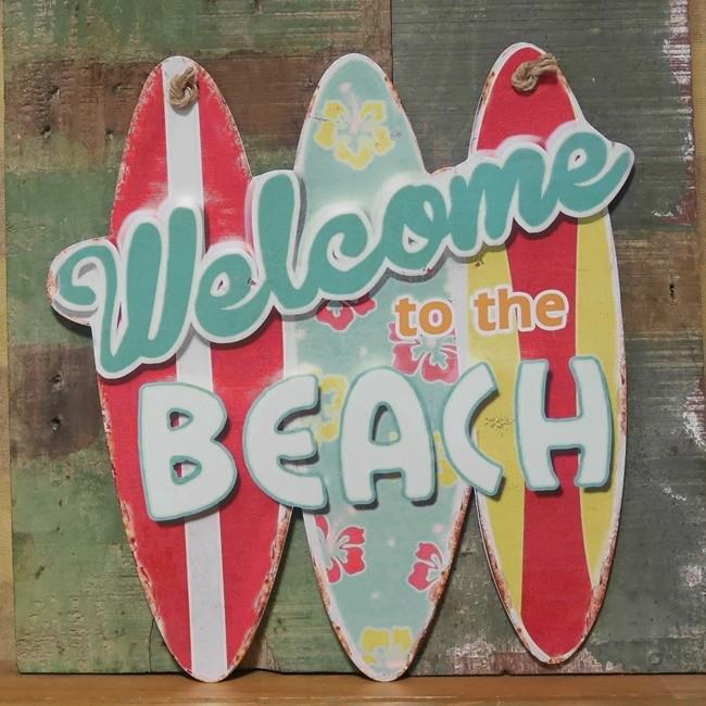レトロデイズ ダイカットプレート BEACH インテリア サーフボード型  ブリキ看板の画像