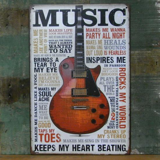 アンティークメタルプレート MUSIC インテリア ブリキ看板の画像