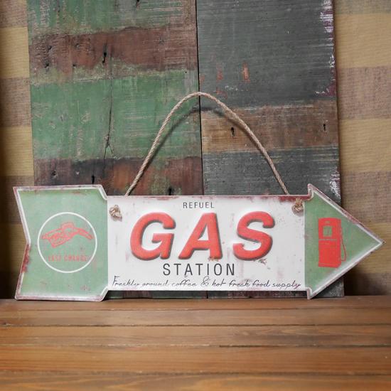 GAS ブリキ看板 インテリア ダイカット レトロデイズプレート ガスステーション アメリカン雑貨の画像