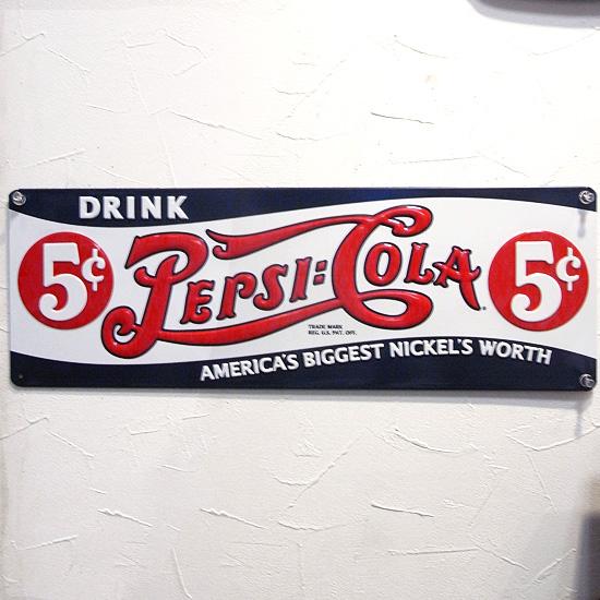 ペプシコーラ ブリキ看板 PEPSI サイン看板 アメリカン雑貨の画像