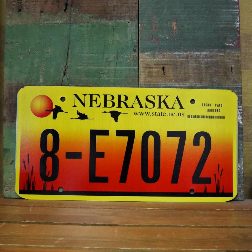 アメリカ ユーズドナンバープレート ネブラスカ州 ブリキ看板 アメリカン雑貨の画像