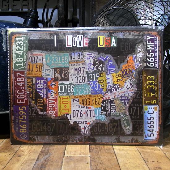 ブリキ看板 ヴィンテージ メタル看板 I LOVE USA ビンテージ インテリア アメリカン雑貨の画像