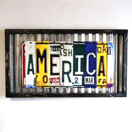 アメリカ トタン ナンバープレートフレーム AMERICA ブリキ看板 アメリカン雑貨の画像