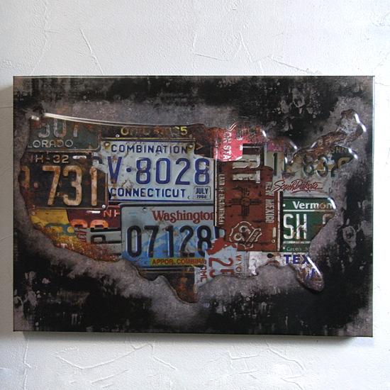 インテリアプレート ミニUSAマップ ブリキ看板の画像