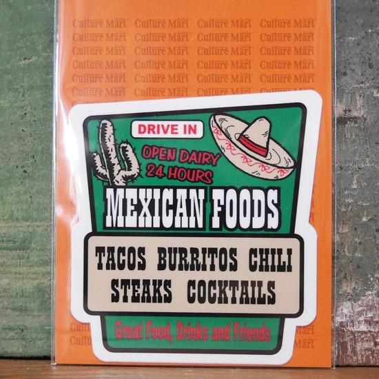 メキシカン ステッカー シール MEXICAN FOODS SIGN STICKER アメリカン雑貨の画像