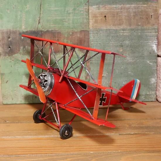 複葉機 インテリア 飛行機 triplane 三葉機 フォッカー ブリキのおもちゃの画像