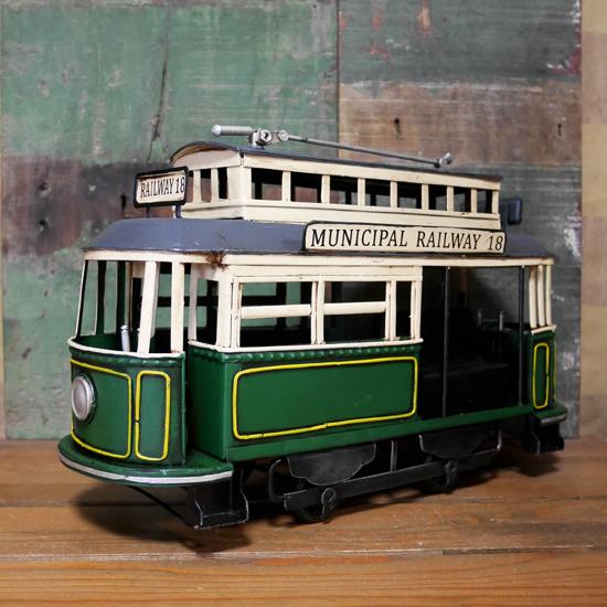 トロリーカー 路面電車 ブリキのおもちゃ 鉄道 トラム アンティーク インテリアの画像
