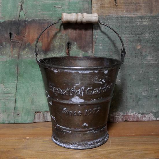 アンティーク ブリキ バケツ Sサイズ HEARTFUL GARDEN ガーデニング プランター 鉢の画像