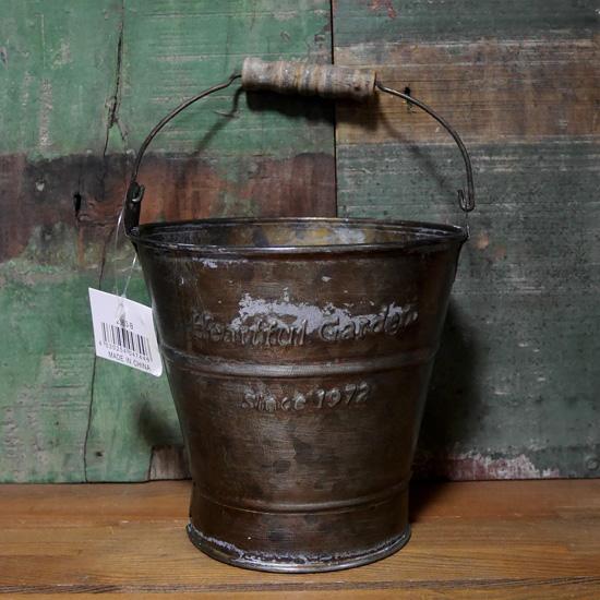 アンティーク ブリキ バケツ Mサイズ HEARTFUL GARDEN ガーデニング プランター 鉢の画像