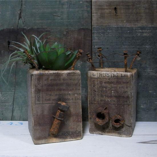 古材 スクエアポット ガーデニング プランター 多肉植物ポットの画像