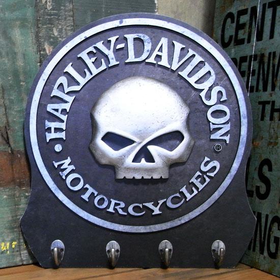 ハーレーダビッドソン 木製 スカルキーラック ウッドフック  アメリカ雑貨画像