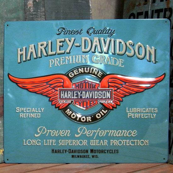 ハーレーダビッドソン   メタルサインプレート PREMIUM GRADE MOTOR OIL アメリカ雑貨の画像