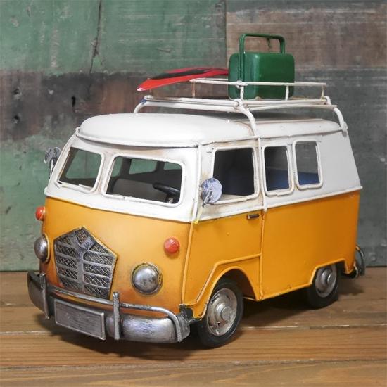 カードスタンド キャリーカー ブリキのおもちゃ ワーゲンバス アメリカン雑貨の画像