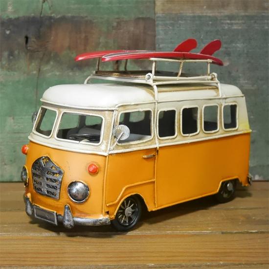 カードスタンド キャリーカー ブリキのおもちゃ ワーゲンバス アメリカン雑貨画像