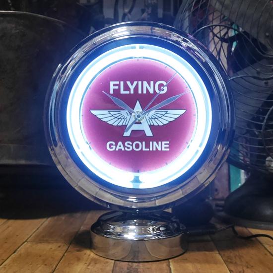 フライングエース ガスランプ ネオンクロック 置時計  GASLAMP NEON CLOCK アメリカン雑貨画像