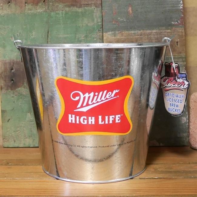 ブリキバケツ Miller HIGH LIFE ティンバケツ ワインクーラー ミラービール アメリカン雑貨の画像