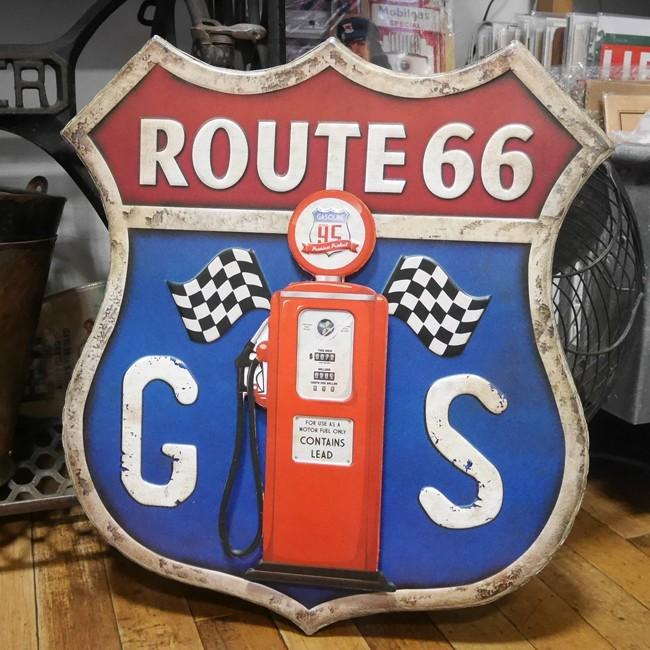 ルート66 GASサイン ブリキ看板 インテリア ガスポンプ ダイカットプレート アメリカン雑貨の画像