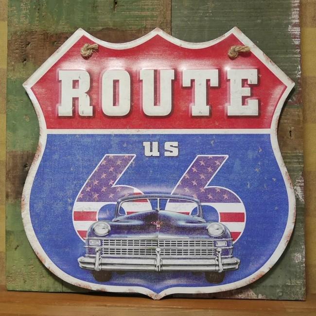 ルート66 ブリキ看板 インテリア ROUTE66 ダイカット レトロデイズプレートの画像