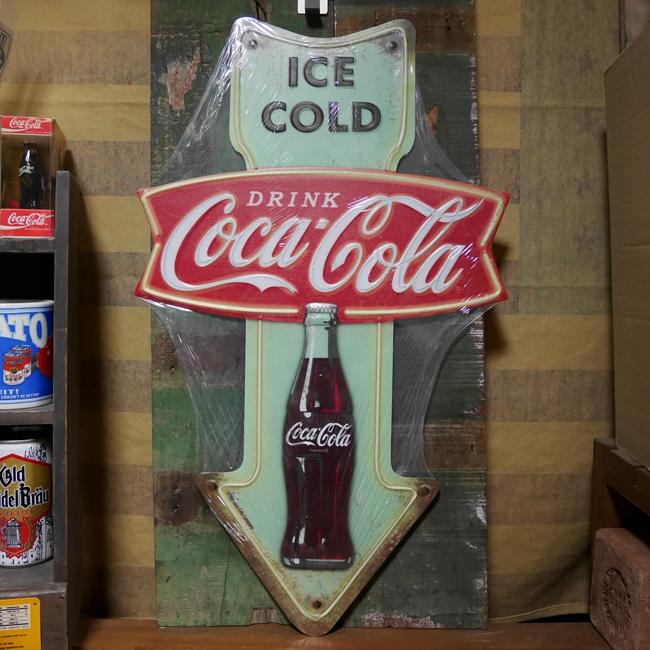 コカ・コーラ ブリキ看板 ティンサイン エンボス コカ・コーラアロー アメリカン雑貨の画像