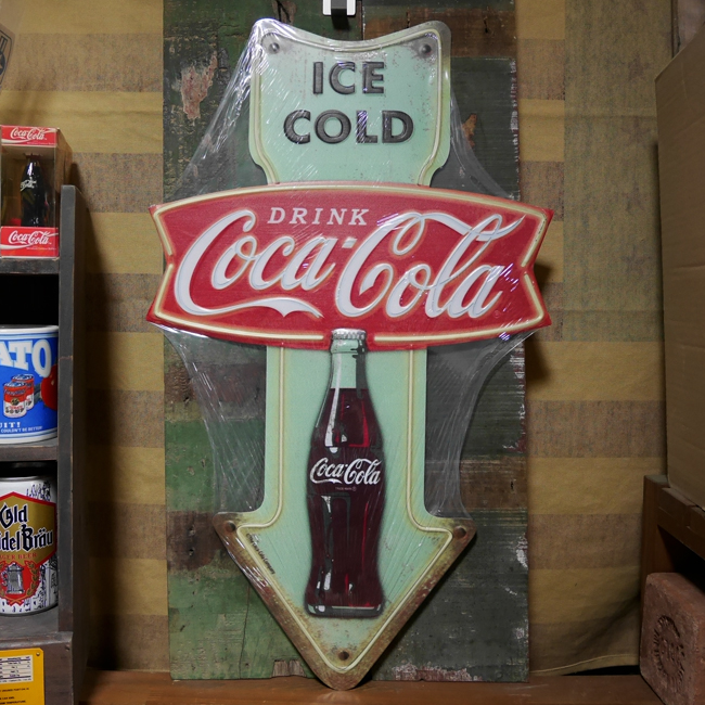 コカ・コーラ ブリキ看板 ティンサイン エンボス コカ・コーラアロー アメリカン雑貨画像