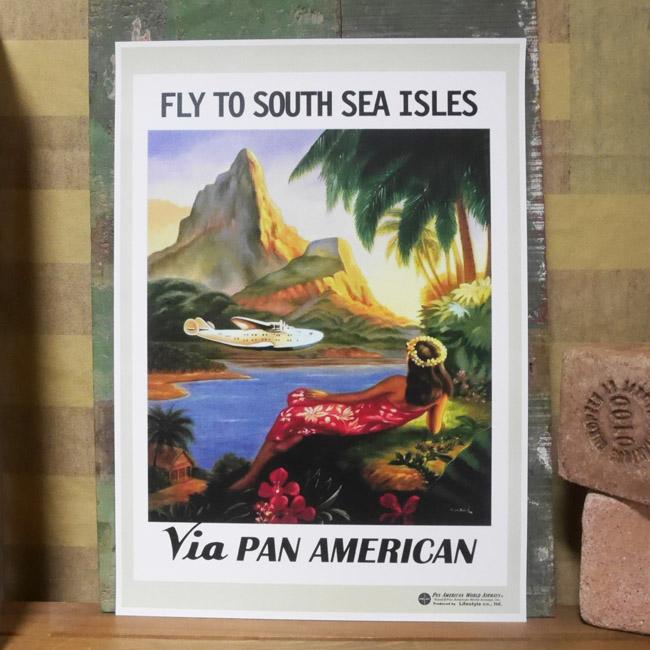 PANAM POSTER パンナム レトロポスター A3サイズ ハワイアンインテリアの画像