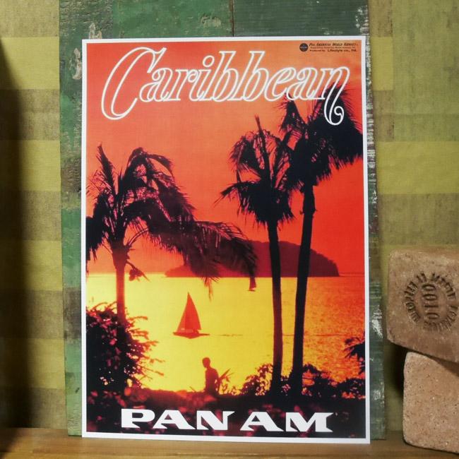 PANAM POSTER パンナム レトロポスター A3サイズ ハワイアンインテリア画像