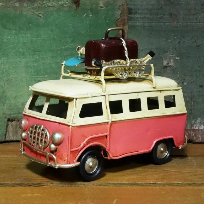 ミニワーゲンバス ブリキのおもちゃ ピンクレトロバス インテリア自動車 アメリカン雑貨画像