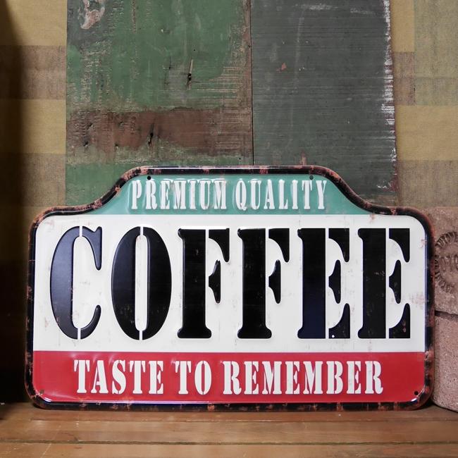 エンボス看板 COFFEEティンプレート カフェ コーヒー ブリキ看板 アメリカン雑貨の画像