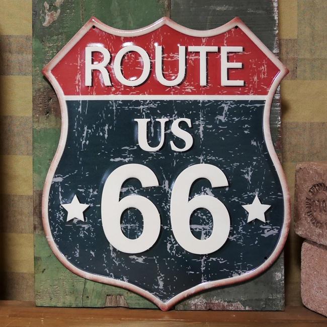 ルート66 アンティークエンボスプレート ブリキ看板 ROUTE66 インテリア US66 アメリカン雑貨の画像