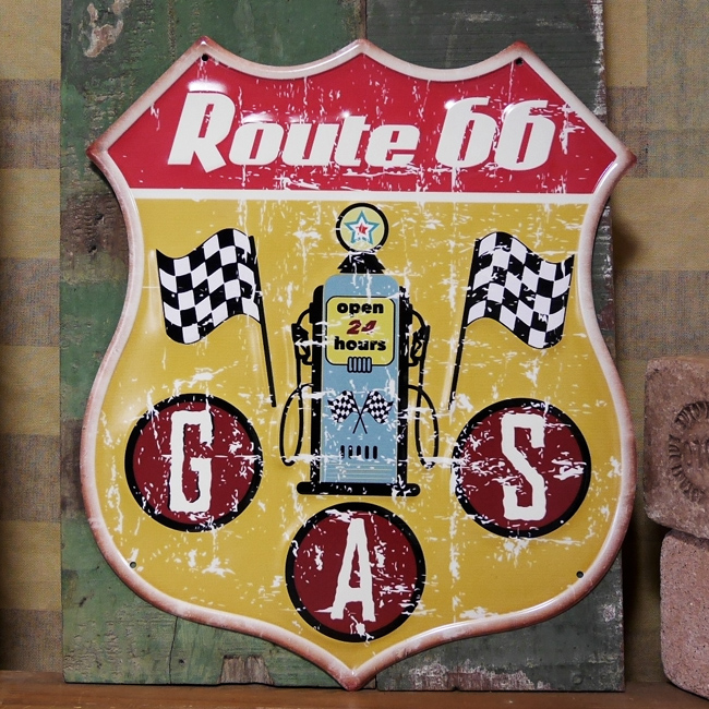 ルート66 アンティークエンボスプレート ブリキ看板 ROUTE66 インテリア  GAS アメリカン雑貨の画像