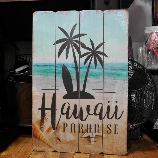 インテリアボード 【ハワイパラダイス】ウッドボード  アメリカンインテリア アメリカン雑貨の画像
