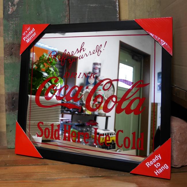 壁掛けミラー パブミラー【コカコーラ ロゴ】アメリカン雑貨の画像