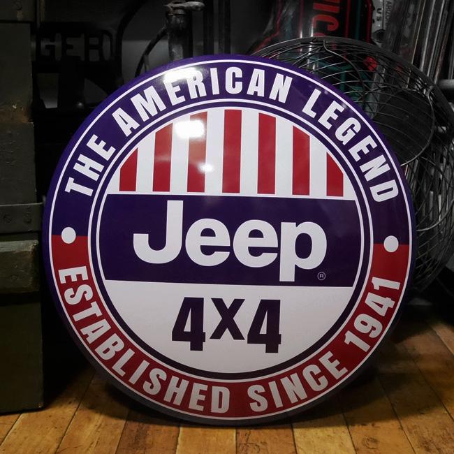 JEEP4×4 ジープ メタルドーム型サイン 看板 ティンサイン アメリカン雑貨画像