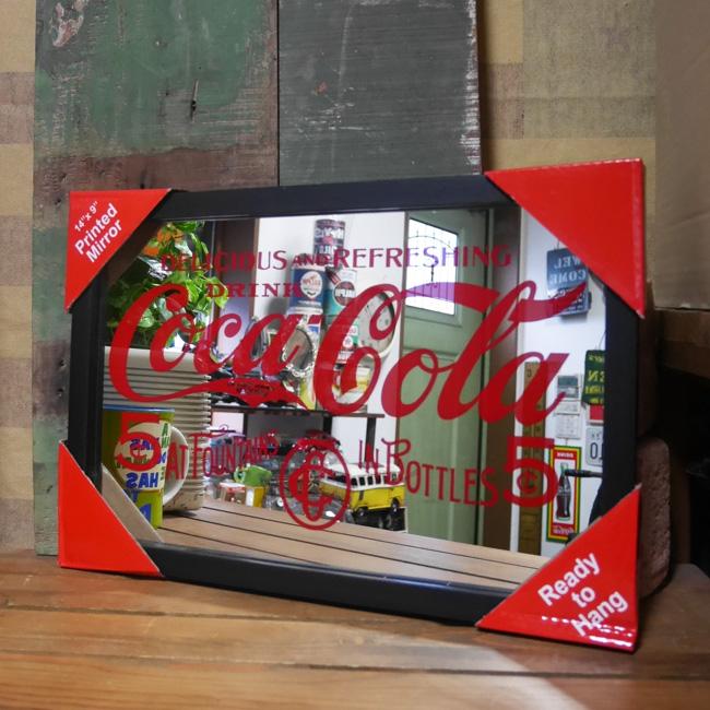 壁掛けミラー パブミラー【コカコーラ レトロロゴ】アメリカン雑貨の画像
