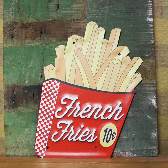 フードサイン フライドポテト エンボスブリキ看板 バーガーショップ ティンサイン アメリカン雑貨の画像