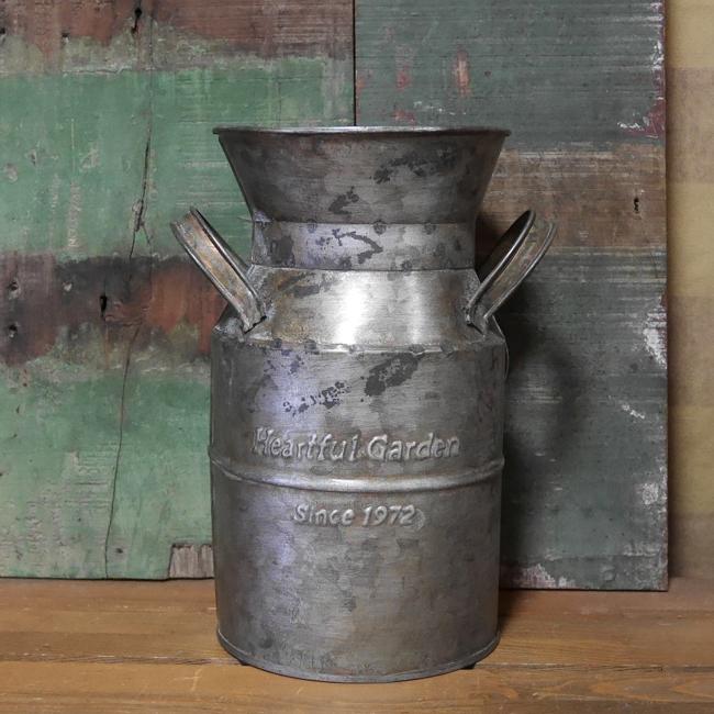 アンティークタイプミルク缶 MILKポット ガーデニング雑貨 ブリキ雑貨の画像