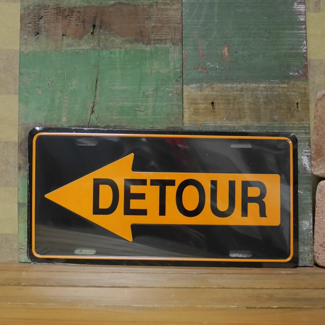 コマーシャルプレート【DETOUR/迂回】アルミサインプレート トラフィックサイン アメリカン雑貨画像
