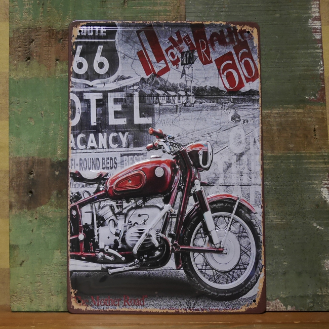 ルート66エンボス看板  ティンサイン ブリキ看板 アメリカン雑貨の画像