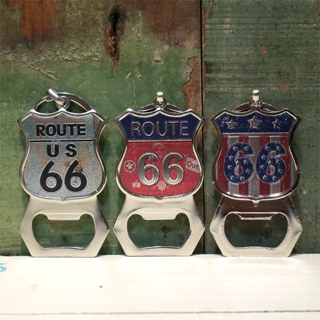 ROUTE66 栓抜き キーホルダー ルート66 オープナー キーリング アメリカン雑貨 の画像