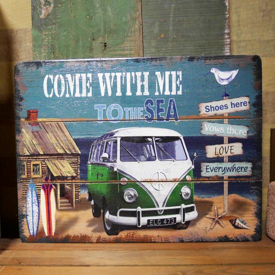 VWバス【グリーン】 ワーゲン ヴィンテージサインボード ハワイアン インテリア 木製看板の画像